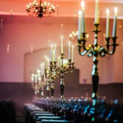 professional themed lighting, candelabras, purple hues