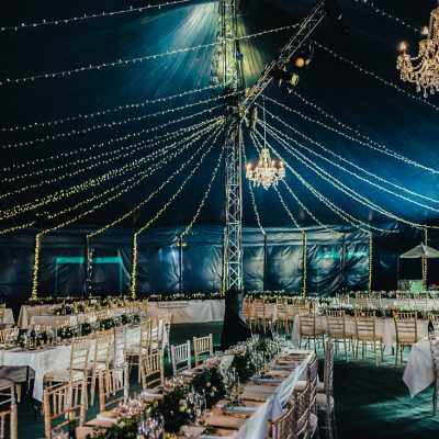 Big Top Tent, Chandeliers, professional wedding lighting