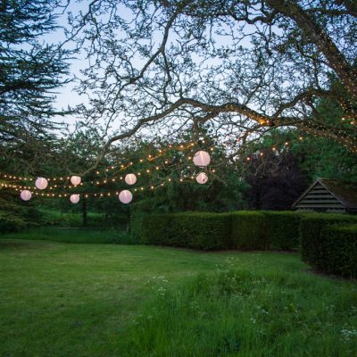 Bore Place, gardens, trees, professional wedding lighting