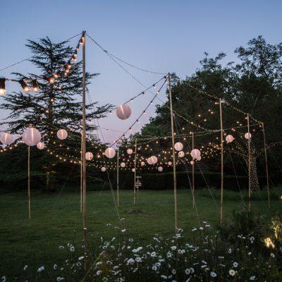 professional wedding lighting, Bore Place, festoon, paper lanterns