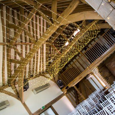 Cain Manor, professional wedding lighting, barn, fairylights
