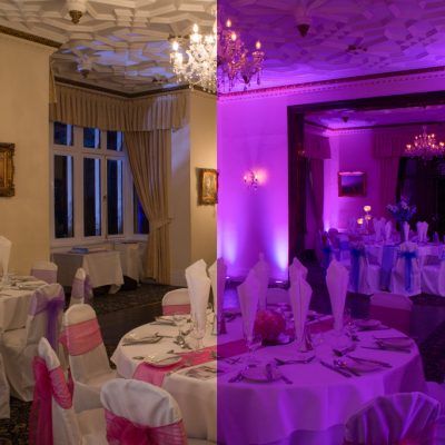 Highley Manor, before and after, professional wedding lighting