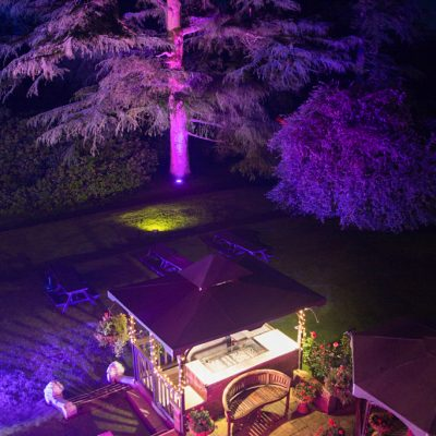 Highley Manor, professional wedding lighting, purple tones, BBQ area