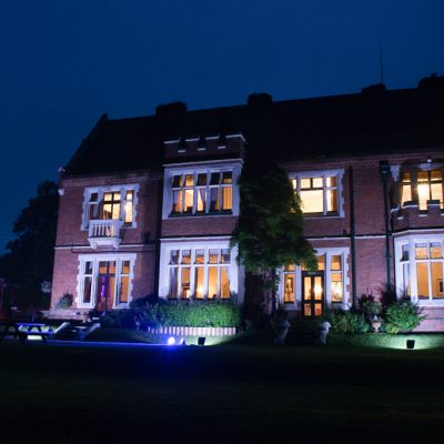 professional wedding lighting, Highley Manor, warm white building uplight
