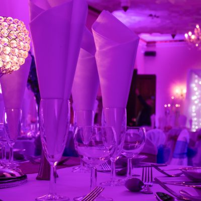 Highley Manor, professional wedding lighting, table decorations
