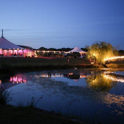 professional wedding lighting, marquee, lake