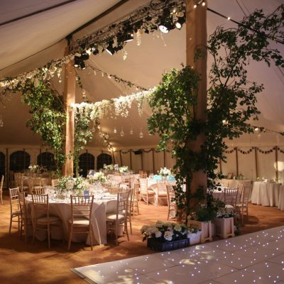 professional wedding lighting, marquee, foliage